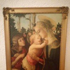 Arte: VIRGEN CON EL NIÑO Y SAN JUAN,LAMINA PEGADA EN MADERA,MUSEO DE LOUVRE PARIS, REPROCUCCION.. Lote 189772808