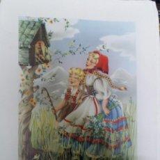 Art: LÁMINA MRG ( Mª ROSA GARCIA) * NIÑOS MIRANDO LA PEQUEÑA CAPILLA * * C Y Z ( 31 X 24 ). Lote 189946316