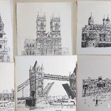 Arte: SET OF 6 PRINTS: SCENES OF LONDON BY BERNARD SMITH 1978. Lote 192135580