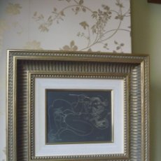 Arte: GRABADO ERÓTICO AMANTES PICASSO ESTILO SHUNGA JAPONÉS GRAN MARCO IDEAL REGALO. Lote 192576555