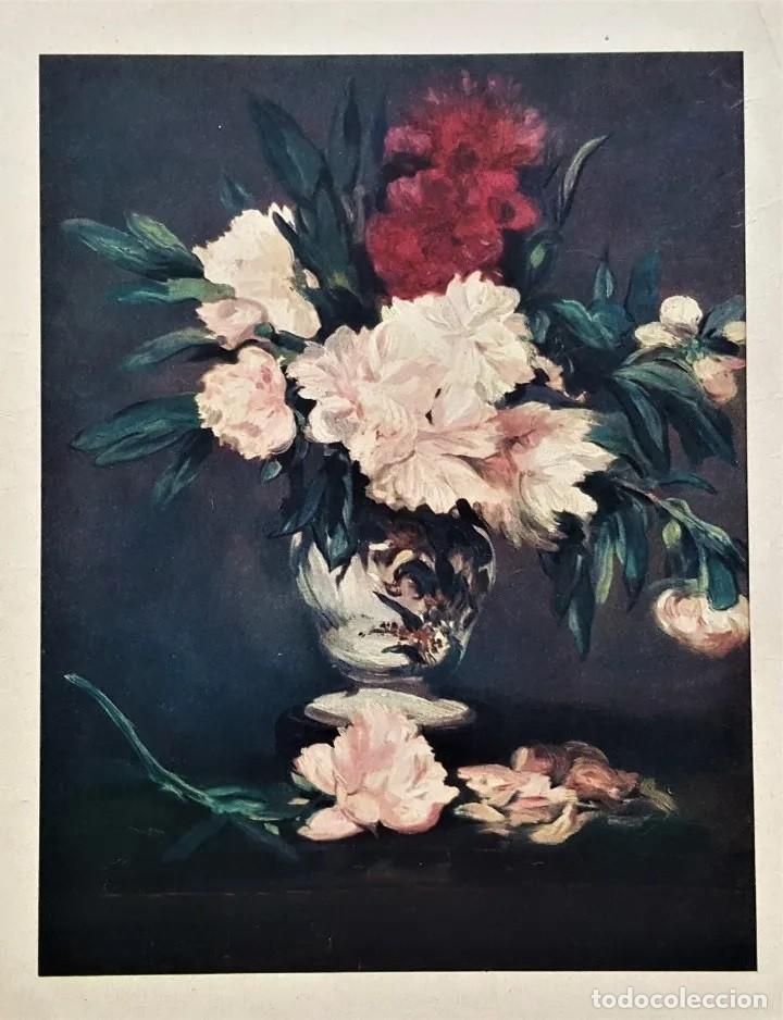 ANTIGUA (1964) LAMINA DE EDOUARD MANET , -LE VASE DES FLEURS, 1871, MUSEO DEL LOUVRE- (Arte - Láminas Antiguas)
