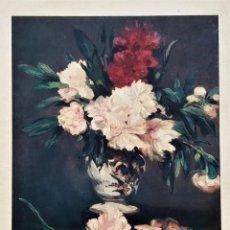 Arte: ANTIGUA (1964) LAMINA DE EDOUARD MANET , -LE VASE DES FLEURS, 1871, MUSEO DEL LOUVRE-. Lote 192984178