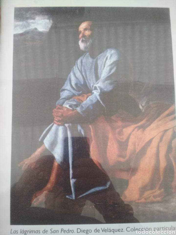 LAMINA DE LAS LÁGRIMAS DE SAN PEDRO ENMARCADA EN BAMBÚ Y CRISTAL. (Arte - Láminas Antiguas)