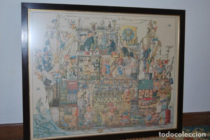 REPRODUCCIÓN OBRA ROGIER MEKEL - LA VIDA A BORDO DE UN BARCO - POSTER - THE TREASURE CHEST - HOLANDA (Arte - Láminas Antiguas)