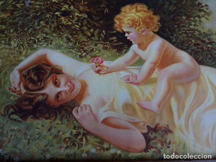Arte: ANTIGUA LAMINA PAPEL MUJER CON NIÑO 36,5 X 77 CM. - Foto 2 - 194332680
