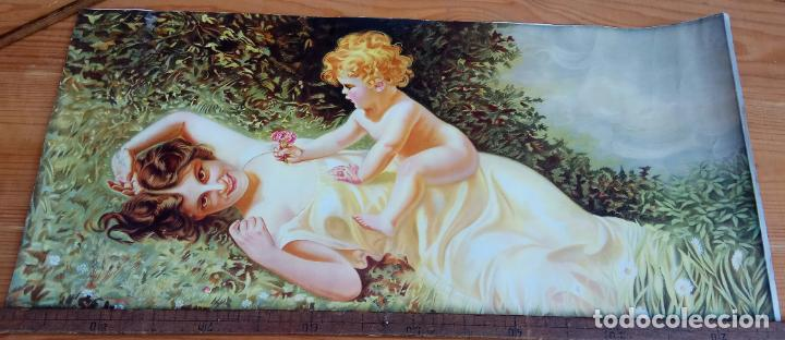 Arte: ANTIGUA LAMINA PAPEL MUJER CON NIÑO 36,5 X 77 CM. - Foto 5 - 194332680