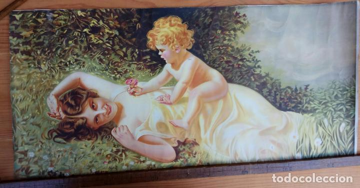 Arte: ANTIGUA LAMINA PAPEL MUJER CON NIÑO 36,5 X 77 CM. - Foto 7 - 194332680