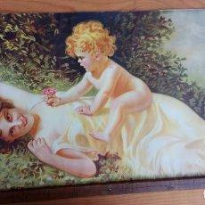 Arte: ANTIGUA LAMINA PAPEL MUJER CON NIÑO 36,5 X 77 CM.. Lote 194332680