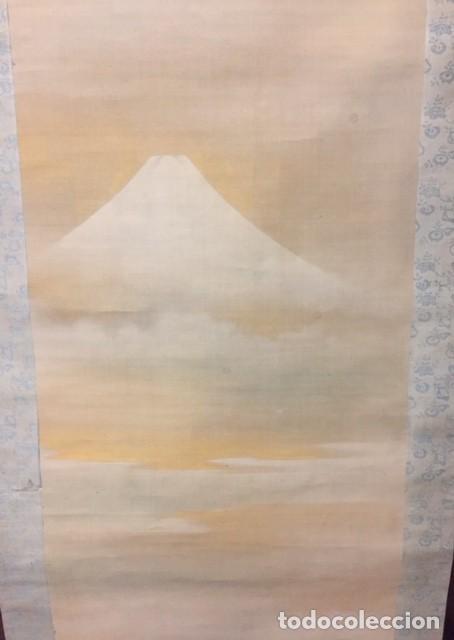 ROLLO VERTICAL DE PINTURA ASIATICA. VOLCAN FUJI JAPON (Arte - Láminas Antiguas)