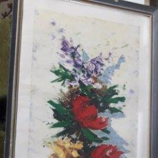 Arte: LÁMINA ENMARCADA: FLORES/ABSTRACTA 'M. BROSSA' 41X76CM.. Lote 194661858