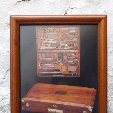 Arte: INSTRUMENTAL MÉDICO ANTIGUO LAMINA ENMARCADA 37X31 CM. Lote 194934662