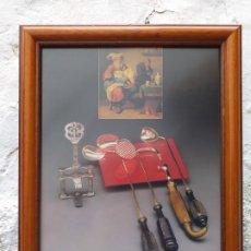 Arte: INSTRUMENTAL MÉDICO ANTIGUO LAMINA ENMARCADA 37X31 CM. Lote 194934797