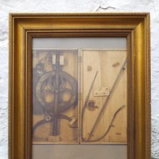 Arte: INSTRUMENTAL MÉDICO ANTIGUO LAMINA ENMARCADA 30X24.5 CM. Lote 194935302