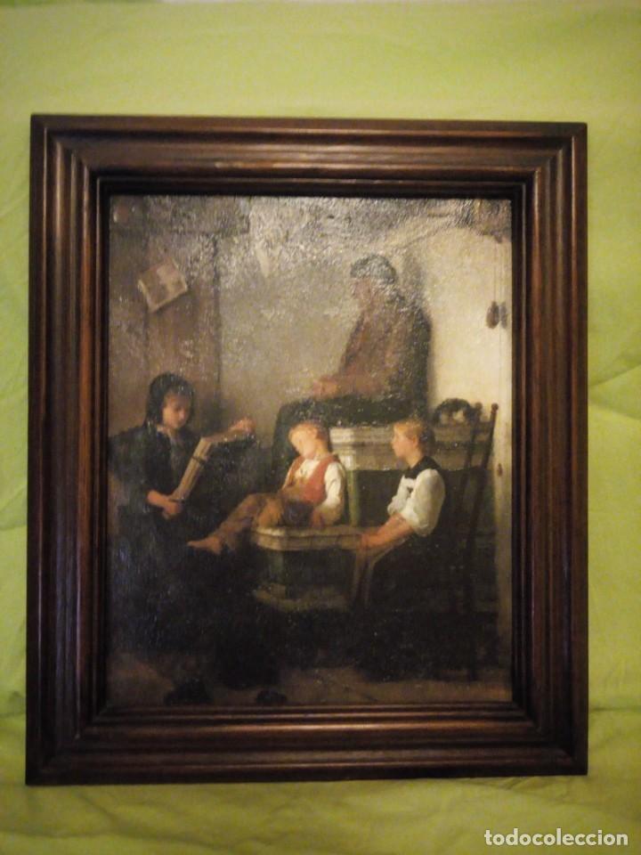 ANTIGUA LAMINA ESCUCHANDO LECTURA, IESER BUCO RAHMEN WURDE,EMNARCADO. (Arte - Láminas Antiguas)