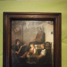 Arte: ANTIGUA LAMINA ESCUCHANDO LECTURA, IESER BUCO RAHMEN WURDE,EMNARCADO.. Lote 195176553