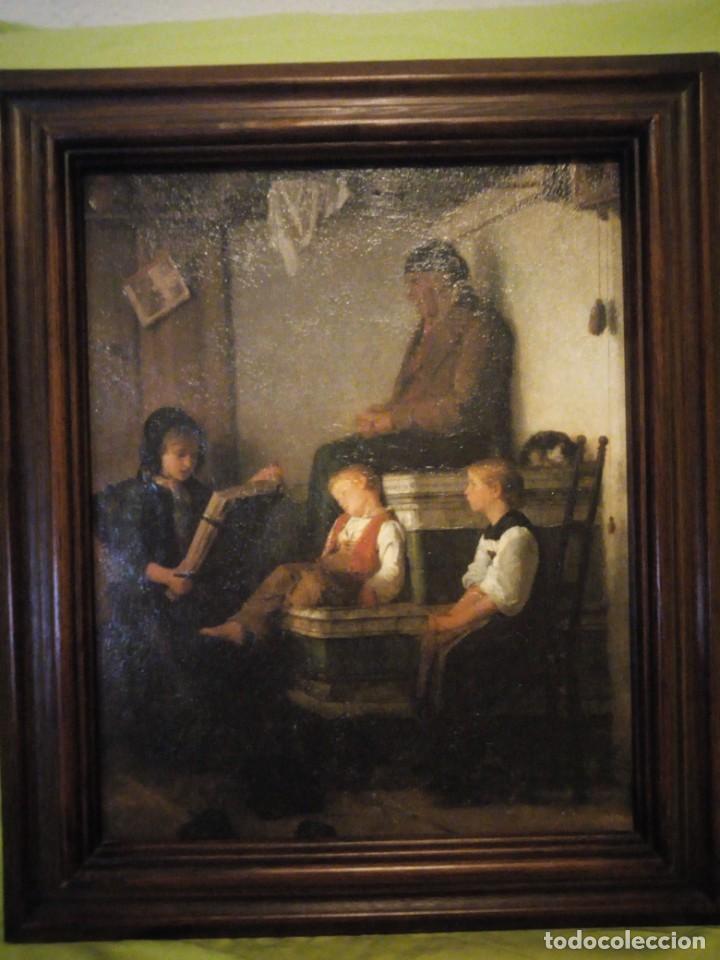Arte: Antigua lamina escuchando lectura, ieser buco rahmen wurde,emnarcado. - Foto 6 - 195176553