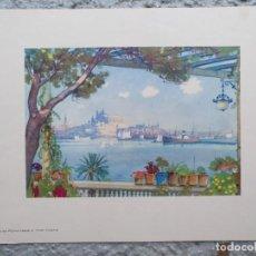 Arte: LAMINA VISTA DE PALMA DE MALLORCA DESDE EL HOTEL VICTORIA. Lote 195194663