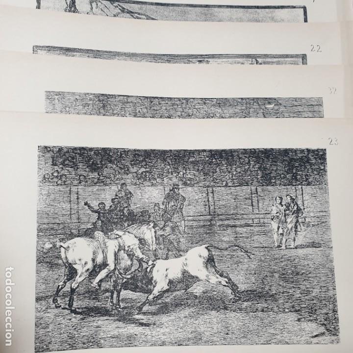 4 LAMINAS ESTAMPAS - FRANCISCO DE GOYA - SUERTES Y ACTITUDES DEL ARTE DE LIDIAR CON LOS TOROS - V (Arte - Láminas Antiguas)