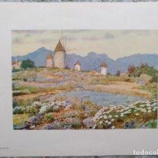Arte: LAMINA VISTA DE MOLINOS EN ALCUDIA (MALLORCA) 21 X 27,5 CM (APROX). Lote 195392963