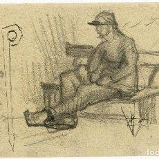 Arte: VINCENT VAN GOGH. HOMBRE EN UN BANCO. DIBUJO FACSÍMIL. ARTIKA 2015. Lote 195801086