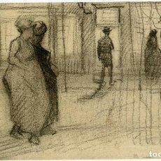 Arte: VINCENT VAN GOGH. GENTE CAMINANDO POR UNA CALLE AL CAER LA TARDE. DIBUJO FACSÍMIL. ARTIKA 2015. Lote 195801191