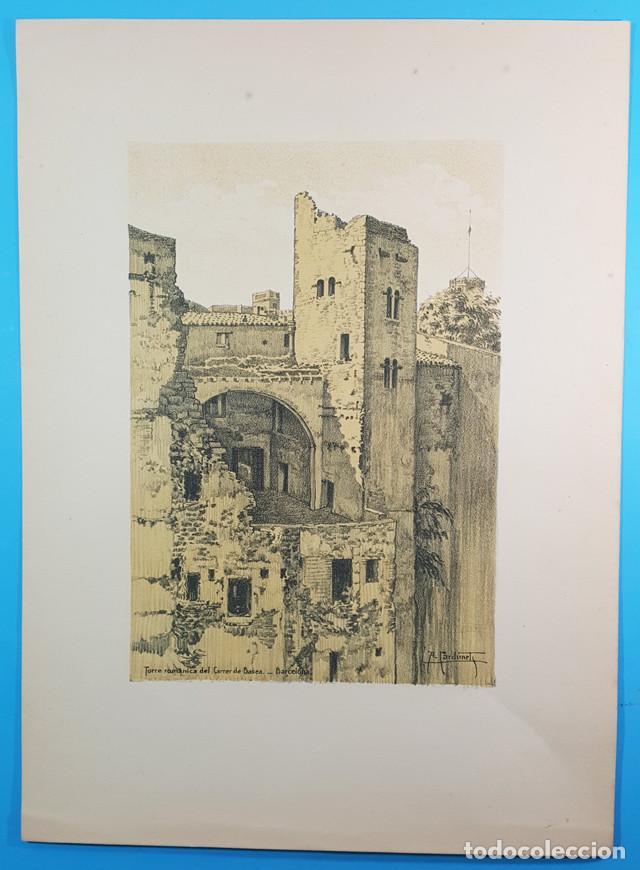 LAMINA 44X32 TORRE ROMANICA CARRER BASEA, BARCELONA ARTISTICA MONUMENTAL, ALEXANDRE CARDUNETS,CARTEL (Arte - Láminas Antiguas)