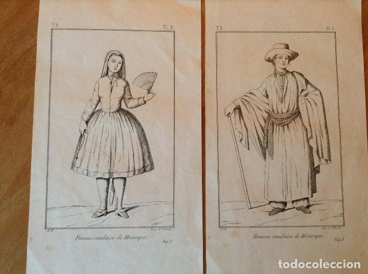 GRABADO TRAJES REGIONALES MENORCA (Arte - Láminas Antiguas)