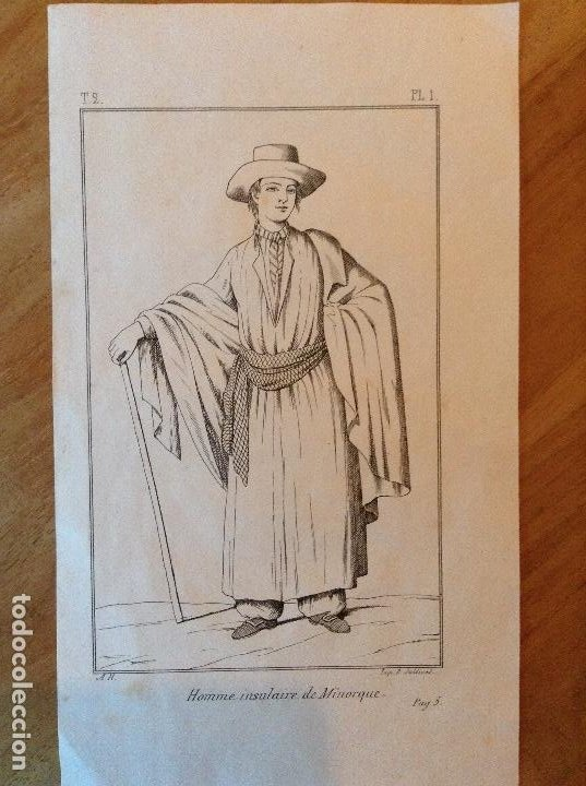 Arte: Grabado trajes regionales Menorca - Foto 2 - 196495082