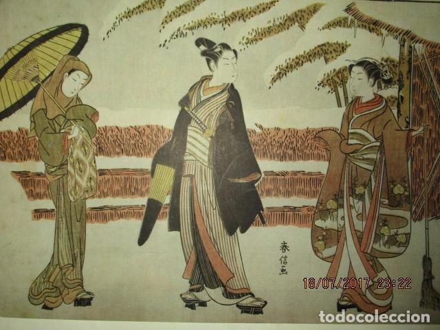 Arte: antigua lamina oriental japon siglo XIX - Foto 2 - 136456922