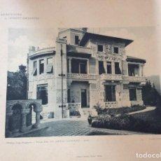 Arte: L´ ARCHITETTURA DE GIUSEPPE SOMMARUGA. STRESA - VILLA DEL SIG. ANGELO GALIMBERTI, 1906. Lote 199072976
