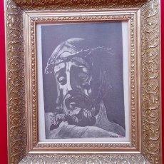 Arte: LITOGRAFÍA LÁMINA ANTIGUA -ECCE HOMO-. DIM.- 37.5X31.5 CMS. FIRMADO.- LINARES 1945. Lote 200023891