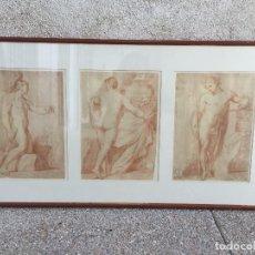 Arte: TRES LAMINAS DIBUJOS NEOCLASICOS ESTUDIOS DESNUDOS SANGUINAS ROBERT MICHEL REAL DEPARTAMENTO DIBUJO. Lote 214783755