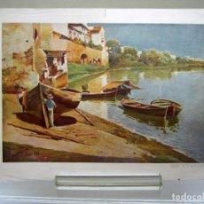 Arte: A ORILLAS DEL GUADALQUIVIR SEVILLA POR M. GARCIA Y RODRIGUEZ - ANTIGUA LAMINA PAPEL TEXTURA LIENZO. Lote 201201952