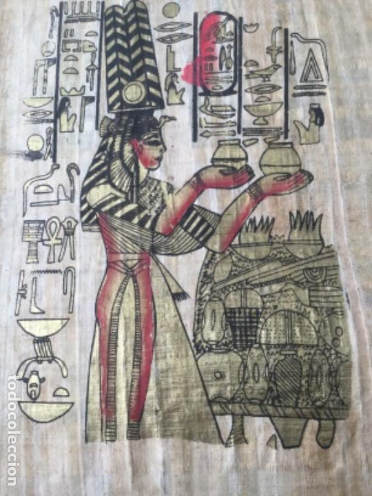 PAPIRO EGIPCIO PINTADO A MANO (Arte - Láminas Antiguas)