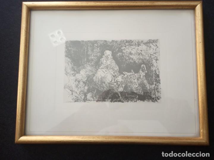 LAMINA LA MADRE EL NÑLO EL BURRO Y EL PADRE (Arte - Láminas Antiguas)