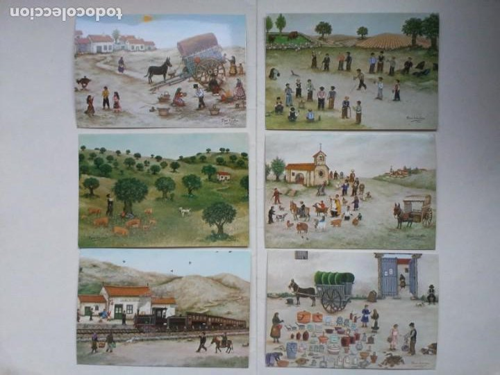 Arte: Lote 23 postales con la temática Castilla de la Pintora Puri Sánchez Años 80 - Foto 2 - 182910616