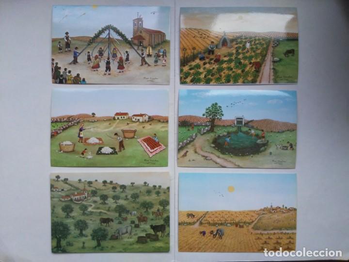 Arte: Lote 23 postales con la temática Castilla de la Pintora Puri Sánchez Años 80 - Foto 6 - 182910616