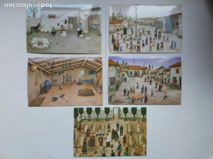 Arte: Lote 23 postales con la temática Castilla de la Pintora Puri Sánchez Años 80 - Foto 8 - 182910616