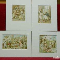 Arte: LE VIN DE CHAMPAGNE POR MOUSSELINE NOEL 1893, 4 MONTAJES PASSEPARTOUT. Lote 203554603