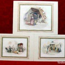 Arte: LE CHAISE A PORTEURS DE FRANCOIS COURBOIN, 3 MONTAJES PASSEPARTOUT. Lote 203554883