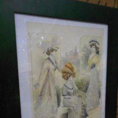 Arte: AMTIGUA LAMINA LAS GRANDES MODAS DE PARIS - SUPLEMENTO - ESPECTACULAR. Lote 203634360