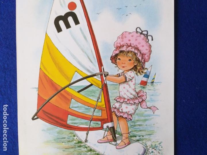 Arte: LAMINA INFANTIL. NIÑA EN BARCO VELERO. ILUSTRA MARY MAY. AÑOS 70/80 . 30 X 21 CMS - Foto 2 - 203803160
