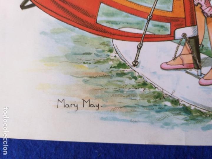 Arte: LAMINA INFANTIL. NIÑA EN BARCO VELERO. ILUSTRA MARY MAY. AÑOS 70/80 . 30 X 21 CMS - Foto 3 - 203803160