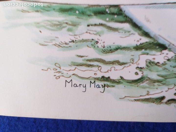 Arte: LAMINA INFANTIL. NIÑO EN BARCO VELERO. ILUSTRA MARY MAY. AÑOS 70/80 . 30 X 21 CMS - Foto 3 - 203804650