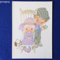 Arte: LAMINA INFANTIL. NIÑOS CON PERRO. ILUSTRADA POR H.. AÑOS 70/80 . 30 X 21 CMS. Lote 246202970