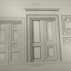 Arte: 33,5 X 23,5 CM ANTIGUA LAMINA ARQUITECTURA DECORACION CARPINTERIA - PUERTAS Y FRENTES. Lote 204451422
