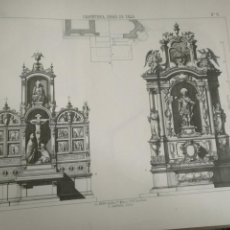 Arte: 33,5 X 23,5 CM ANTIGUA LAMINA ARQUITECTURA DECORACION CARPINTERIA - ALTAR CAPILLA RETABLO CALVARIO. Lote 204453226