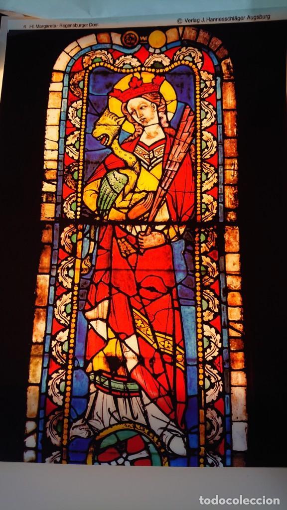 LAMINA IMPRESA PLASTICO TRANSPARENTE A TODO COLOR VIDRIERA SANTA MARGARITA CATEDRAL REGENSBURGER DOM (Arte - Láminas Antiguas)