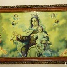 Arte: LÁMINA ENMARCADA DE LA VIRGEN DEL CARMEN CON EL NIÑO. DIMENSIONES MARCO 45 X 87 CM. Lote 205196642