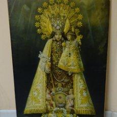 Arte: LÁMINA PEGADA SOBRE TABLERO MADERA. VIRGEN DE LOS DESAMPARADOS. DIMENSIONES 71,5 X 51 CM. Lote 205200787